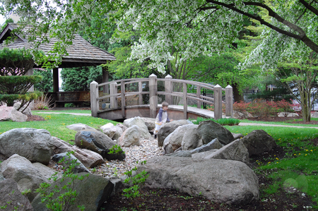 Japanese garden stock photo, Japanese garden, public park, Mishawaka, Indiana by Heather Shelley