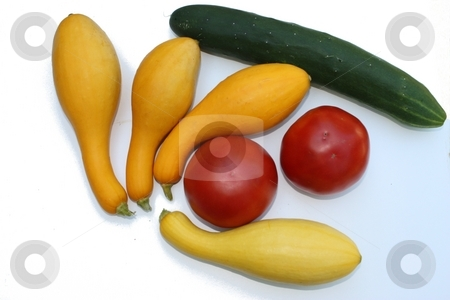 Summer veggies stock photo, Group of summer vegetables on white background by Linda Johnson