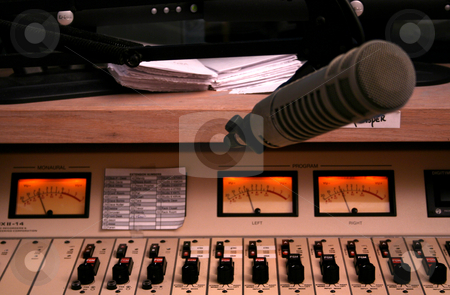 BoardMic stock photo, Sound control board and meters in KRVK 107.9 (The River) morning DJ Jon Michaels' booth in focus with mic slightly OOF. by Clay Anthony