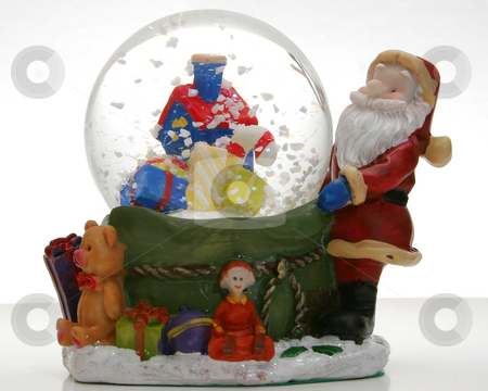 Snow globe stock photo, Snow globe on white background. by Clay Anthony