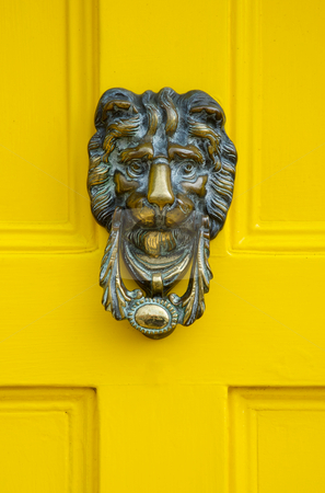 Traditional English Brass Door Knocker stock photo,  by Mark Smith