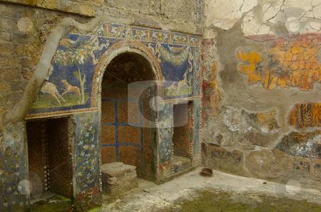 Herculanuem domestic interior with mosaics stock photo,  by Mark Smith
