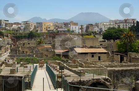Herculaneum, Ercalano and Vesuvius stock photo,  by Mark Smith