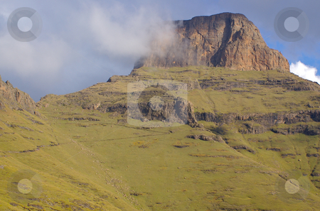The Sentinel - A South African peak in the Drakensberg stock photo,  by Mark Smith