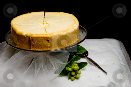 Lemon Custard Cake stock photo, A gourmet lemon custard cake on a table. by Robert Byron