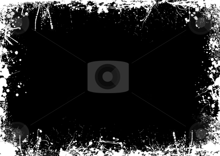 Negative splat border stock vector clipart, Ink and paint splat border in negative black and white by Michael Travers