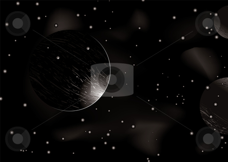 Space eclipse stock vector clipart, Space scene with light creeping around a distant planet by Michael Travers