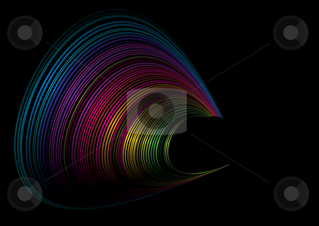 Rainbow surf stock vector clipart, Colorful rainbow illustrated background in a wave form by Michael Travers
