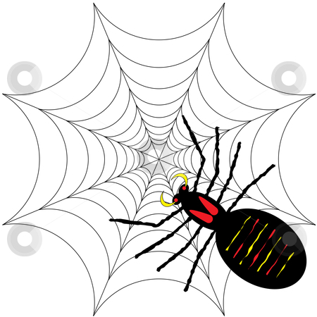 Spider and spooky web stock vector clipart, Spooky halloween background featuring a scary black spider by Michael Travers