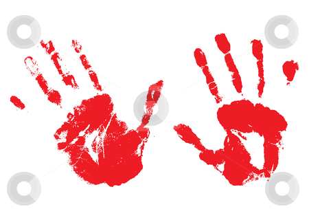 Bloody hands stock vector clipart, A pair of bloody hands made with ink or paint by Michael Travers