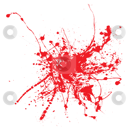 Blood ink stock vector clipart, Blood splatter on a white background isolated illustration by Michael Travers