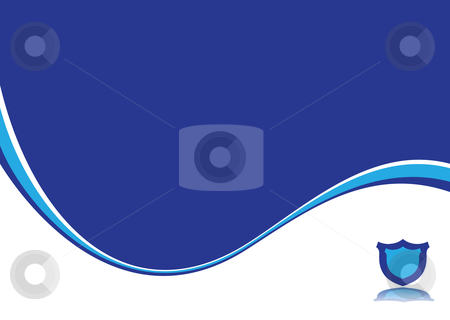 Blue dream stock vector clipart, Corporate inspired blue and white background with a shield by Michael Travers