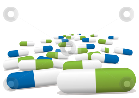 Blue green pills stock vector clipart, Blue and green pills by Michael Travers