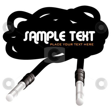 Cable space stock vector clipart, Retro style audio cable with jack and copy space by Michael Travers