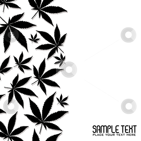 Cannabis leaf stock vector clipart, Abstract black cannabis leaf design with copy space by Michael Travers