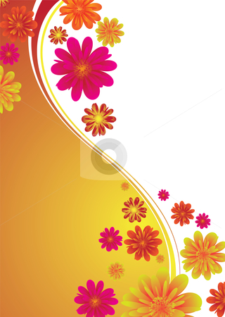 Classy floral band stock vector clipart, Illustrated floral background with colorful flowers on a orange gradient by Michael Travers