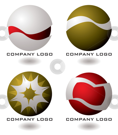 Company logo four stock vector clipart, Selection of four company logos in red and gold by Michael Travers