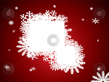 Christmas snow note stock vector clipart, Abstract christmas image with snow flakes and room for text by Michael Travers