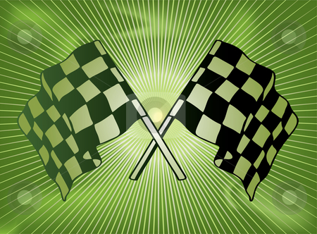 Checkered past stock vector clipart, Green checkered flag background with a star burst in green by Michael Travers