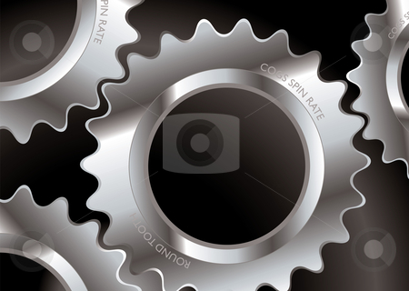 Cog connect stock vector clipart, Industrial abstract background with cogs and black gradient by Michael Travers