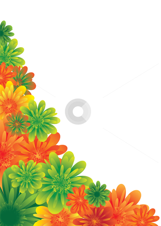 Classy floral stock vector clipart, Illustrated floral background with colorful flowers in the corne by Michael Travers