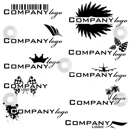 Company logo stock vector clipart, Collection of company logos in black and white that are easy to edit by Michael Travers