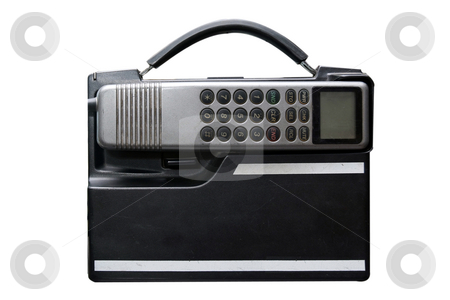 Not so mobile stock photo, Vintage mobile phone isolated on white by Paul Phillips
