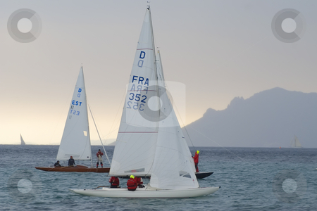 Regatta during a raining day stock photo, Sailboats of type