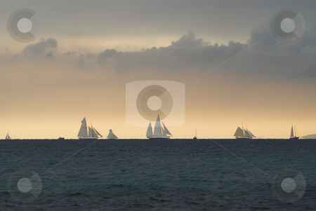 Regatta on the horizon stock photo, Old sailboats on the horizon near Cannes (french riviera) during
