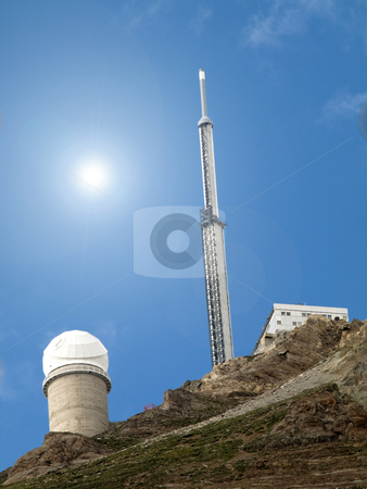Astronomical observatory stock photo, Pic du Midi astronomical observatory on top of a mountain by Laurent Dambies