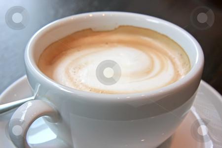 Coffee with foam stock photo, Coffee with foam swirl in round white mug by Kheng Guan Toh