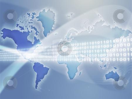 Global data transfer stock photo, Digital data transfer, over world map illustration by Kheng Guan Toh