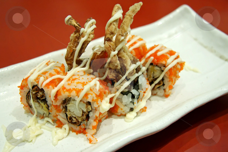 Japanese maki stock photo, Softshell crab maki, traditional japanese rice roll with seafood by Kheng Guan Toh