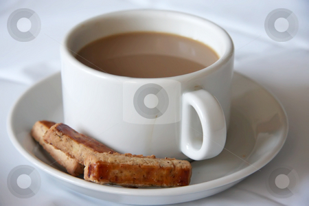 Coffee and cookies stock photo, Cup of coffee with saucer and cookies by Kheng Guan Toh