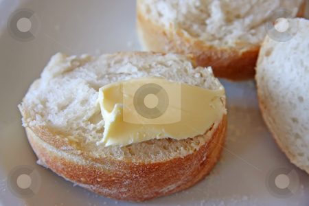 Bread and butter stock photo, Bread, butter, spread, loaf, food, crusty, crust, country, europe, european, sliced, cut, slices, arranged, margarine, breakfast, snack, meal by Kheng Guan Toh