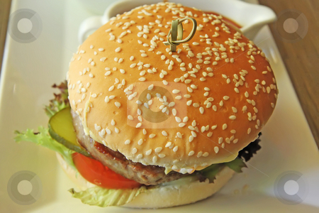 Fancy cheeseburger stock photo, Fancy cheeseburger with french fries served in restaurant` by Kheng Guan Toh