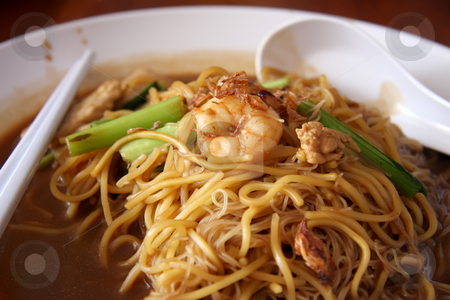 Chinese noodles stock photo, Traditional chinese noodles with soy sauce and seafood by Kheng Guan Toh