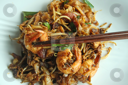 Fried asian noodles stock photo, Fried flat rice noodles traditional chinese malaysian cuisine by Kheng Guan Toh