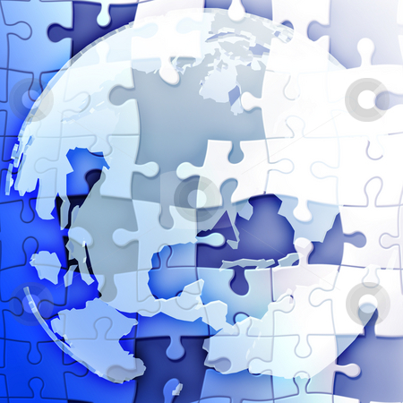 Globe of Americas stock photo, Map of the Americason spherical globe jigsaw puzzle by Kheng Guan Toh