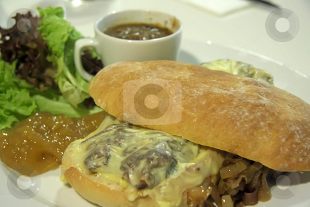 Cheese steak sandwich stock photo, Cheese steak sandwich on ciabata bread fancy restaurant presentation by Kheng Guan Toh