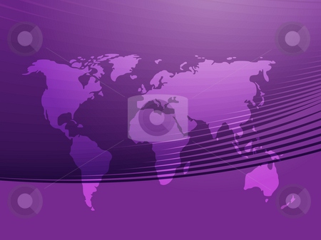 Map of the World stock photo, Map of the world illustration, with abstract curved lines by Kheng Guan Toh
