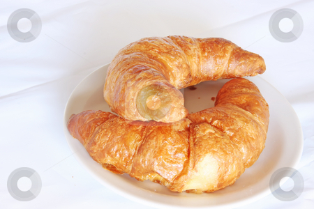 Fresh croissants stock photo, Freshly baked butter croissant french pastry bread on white plate by Kheng Guan Toh