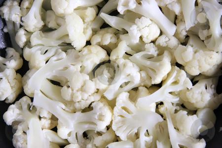 Cut cauliflowers stock photo, Cooked cut cauliflower pieces fresh vegetable cuisine by Kheng Guan Toh