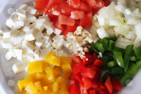 Italian cooking ingredients stock photo, Chopped tomatoes, capsicums, mozarella, onions, garlic, Italian cooking ingredients by Kheng Guan Toh
