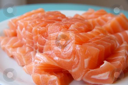 Salmon sashimi stock photo, Arrangement of salmon sashimi raw japanese seafood by Kheng Guan Toh