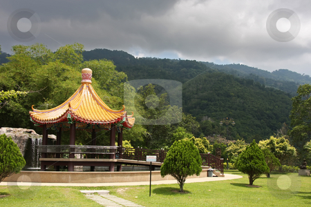 Temple pagoda stock photo, Traditional chinese temple pagoda against stormy skies by Kheng Guan Toh