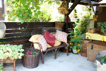 Relaxing summer stock photo, Relaxing summer environment garden furniture shed by Kheng Guan Toh