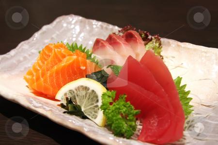 Sashimi arrangement stock photo, Arrangement of sashimi sliced raw japanese fish dish by Kheng Guan Toh