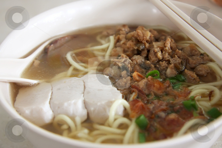 Chinese noodle soup stock photo, Noodles with clear soup traditional chinese cuisine by Kheng Guan Toh
