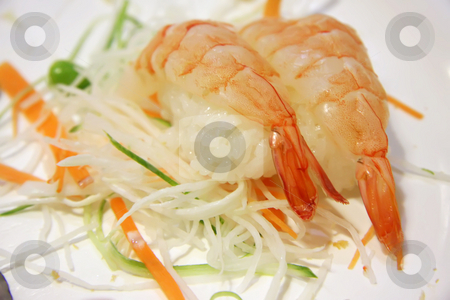Ebi sushi stock photo, Ebi sushi traditional japanese cuisine raw prawns with rice by Kheng Guan Toh